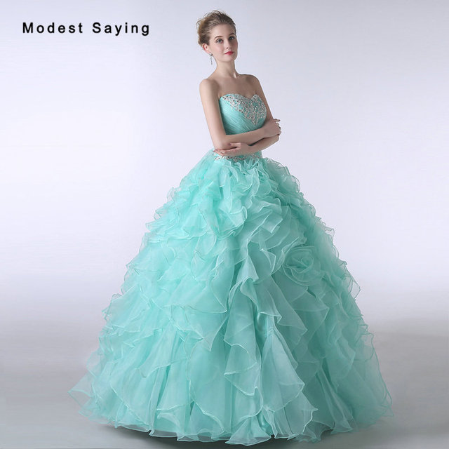 e6578bf101 Elegant Turquoise Ball Gown Sweetheart Beaded Lace Ruffled Quinceanera  Dresses 2017 Girls Party Prom Gowns vestido de 15 anos