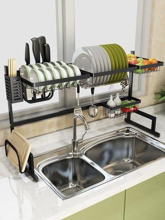 stainless steel sink rack drain rack sink to dry the chopsticks rack dish rack kitchen shelf 2 storey storage shelf