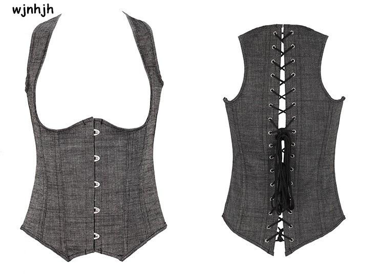1f3c1d81c79385 Colete Sexy corset Rendas Até Cetim Desossado Magro Gilet Underbust Cintura  Cincher do Espartilho Bustier corpete steampunk corselet S-6XL