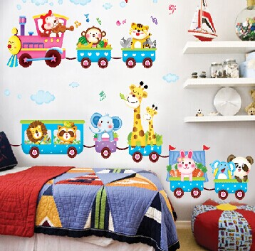 Lovely Cartoon Train Animals Pattern Removable Wall