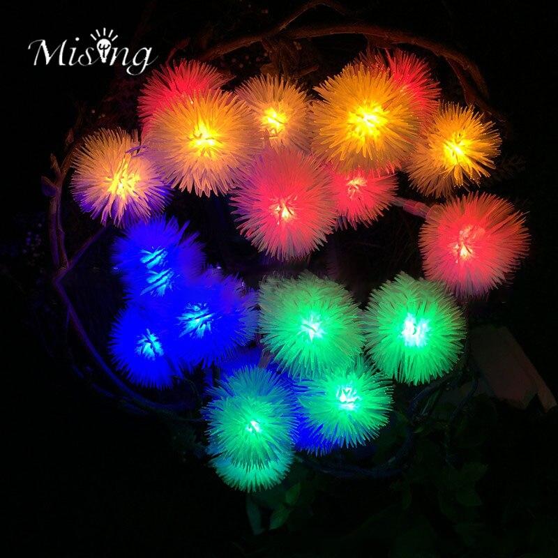 Mising 2.2M 20 LED 3*AA Battery Dandelion String Lights LED Fairy Lights Outdoor Garden Lamp for Festival Christmas Halloween