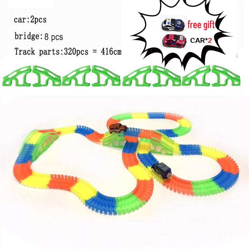 Racing Bend Rail Track Led <font><b>Electronic</b></font> Flash Light <font><b>Car</b></font> DIY Toy <font><b>Kids</b></font> Gift Railway Magical Glowing Flexible Track <font><b>Car</b></font> Toys Children image