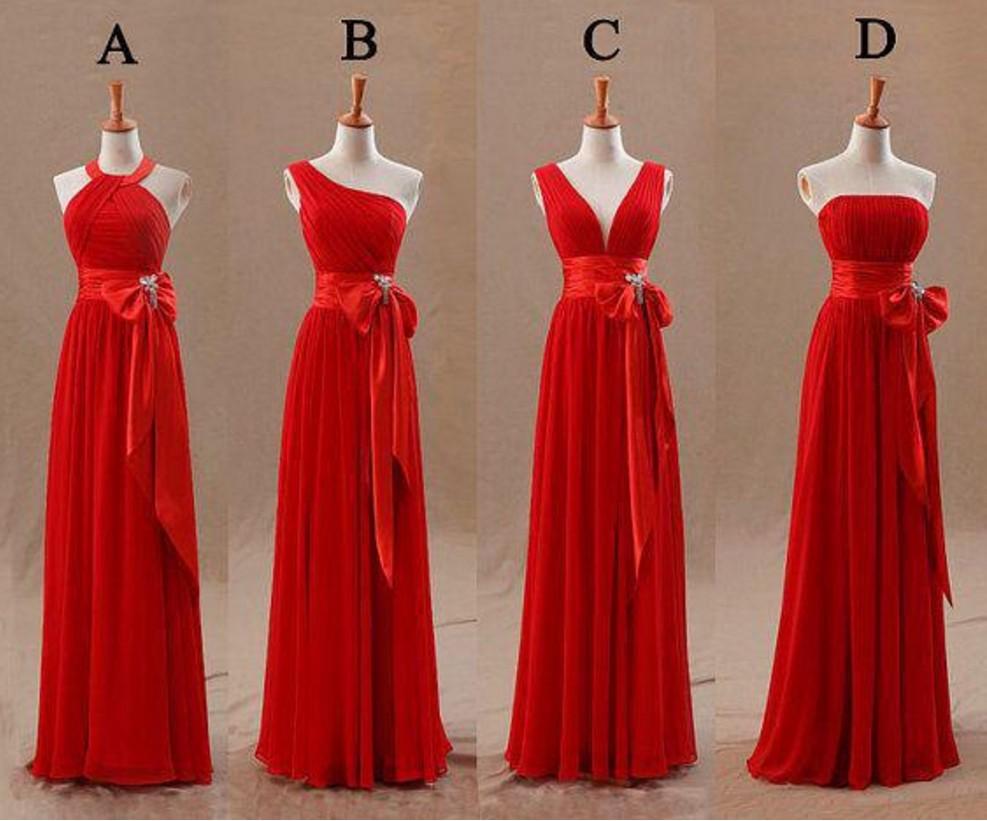 New Arrival Long Red Bridesmaid Dresses Chiffon A-Line Mismatch Bridesmaid Robes Vestido Plus Size Bridesmaid Party Dresses 2018