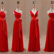 New Arrival Long Red Bridesmaid Dresses Chiffon A-Line Misma