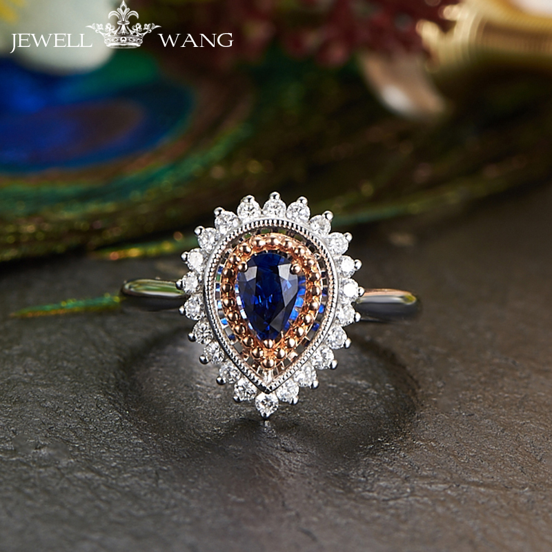 JEWELLWANG Luxury Natural Blue Sapphire 18K White Gold Ring Genuine Diamond Ring for Women White Gold Water Drop Sapphire Rings