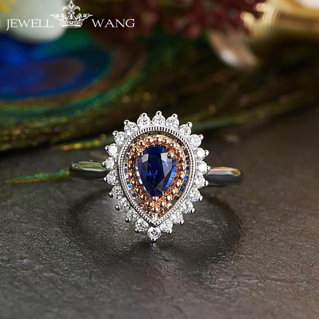 JEWELLWANG Luxury Natural Blue Sapphire 18K White Gold Ring Genuine Diamond Ring for Women White Gold Water Drop Sapphire Rings