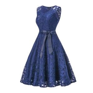Image 2 - OML510Z#V neck Navy blue Bow Short Bridesmaid Dresses wedding party dress 2019 prom gown womens fashion wholesale clothing