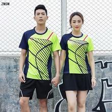 ZMSM Women/Men Stripe Print Badminton Wear O-neck Table Tennis Set Training Suit Shirts Shorts Skirts Sports clothes Y123