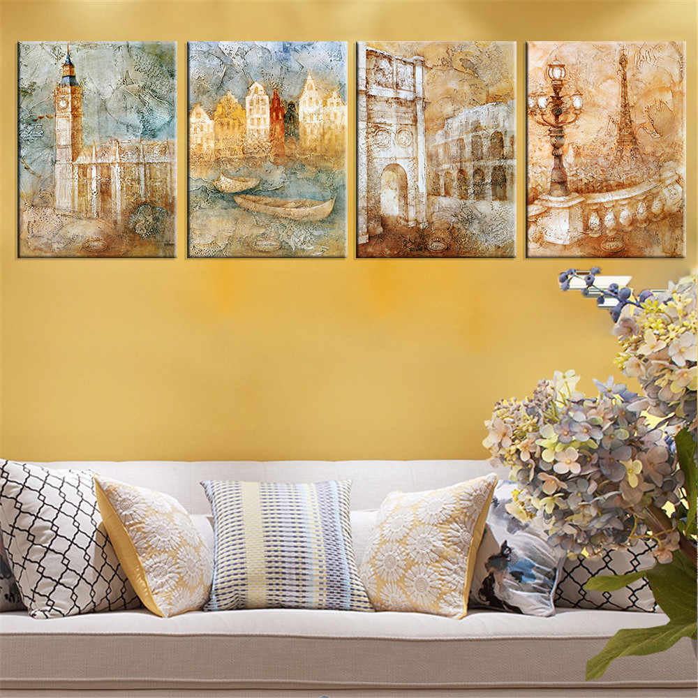 Canvas Painting London Scenery Print Cuadros Decoration City Scenery Modular Painting for Living Room Wall Picture Unframed 4pcs