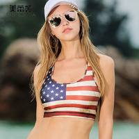 Cropped Tanks Meileiya New American Flag US Pattern Tank Tops Women Cotton Breathable Short Vest Camisole Beach Hip-hop Clothes
