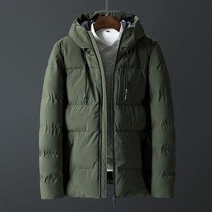 Image 4 - Casacos de inverno Dos Homens Engrossar Homens Quentes Parkas Com Capuz Casaco de Lã do Homem Jaquetas Outwear Jaqueta Masculina Transporte da gota ABZ107
