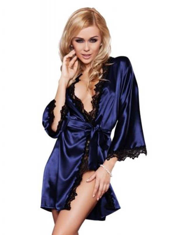 Luxus Frauen Seide Langarm Nachtwäsche Satin Morgenmantel Robe Tiefe V-ausschnitt Spitze Nachtwäsche Dessous