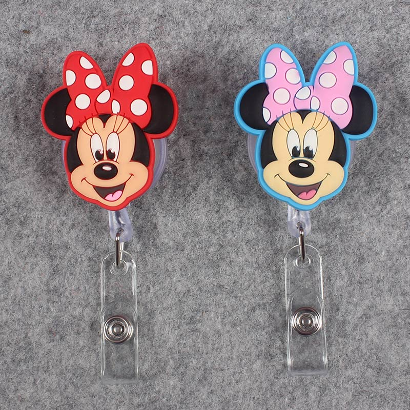 Cartoon Mouse Boy Girls Retractable Plastic Badge Holder Reel Mouse Exhibition ID Enfermera Name Card Hospital Office Chest Card