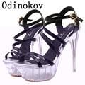2017 Zapatos de Mujer Tacones Altos zapatos sandalia tacon mujer 15 cm tacones Plataformas mujer Sexy Cuñas Peep Toe Zapatos de Tacón Talla 11