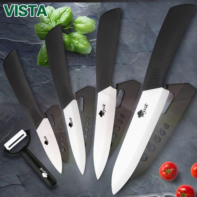 Керамика Ножи для шашлыков Кухня Ножи для шашлыков 3 4 5 6 дюймов нож шеф-повара Кук Set + Овощечистка белый цирконий лезвия Multi- цвет ручки высокое качество