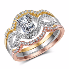 925 sterling silver jewelry treasure ring Hollow zircon diamond three-color three sets of rings Stainless steel topaz B2417