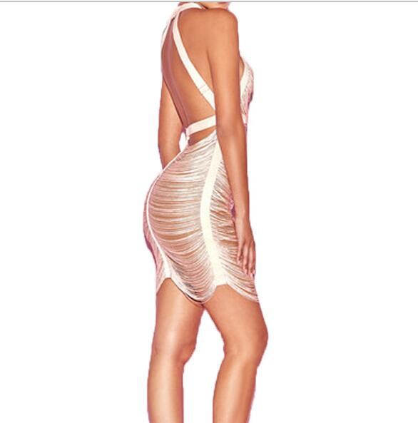 Cinghia Srtap Donne Di Sexy Champagne Basso Halter Petto All'ingrosso Nappa Elegante Pub Delle Celebrità Calda Dalla Mini Fasciatura Backless Estate Vestiti X4rXRTfq