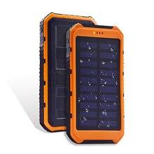 Внешний аккумулятор 20000 мАч портативный солнечный внешний аккумулятор Экстремальный Мобильный телефон батарея чехол зарядное устройство двойной USB светодио дный для всех смартфонов
