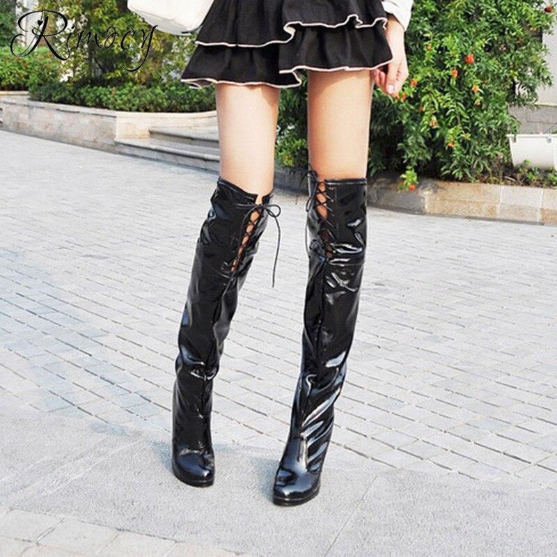 blanc 2019 Chaussures Bottes Sur Femme Talons Noir Cuir Mujer Longues Femmes Croix Verni rouge Botines En Rimocy Printemps Liée Genou Hauts Le Stiletto wAqBwxU