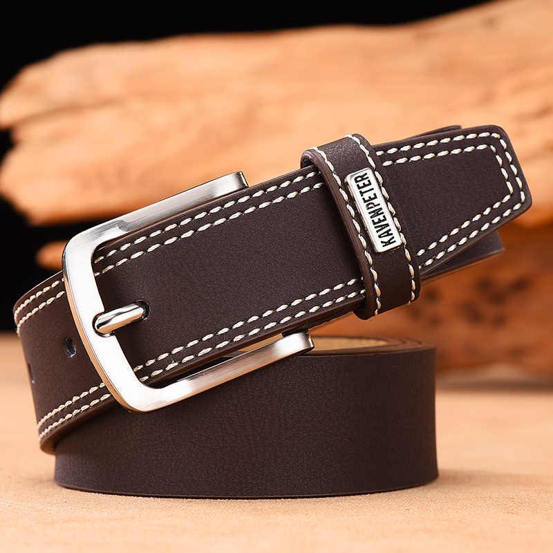 男性本革ベルト高級デザイナーベルト牛革ファッションマットストラップ男性ジーンズ男高品質 Cinturones Hombre Lujo
