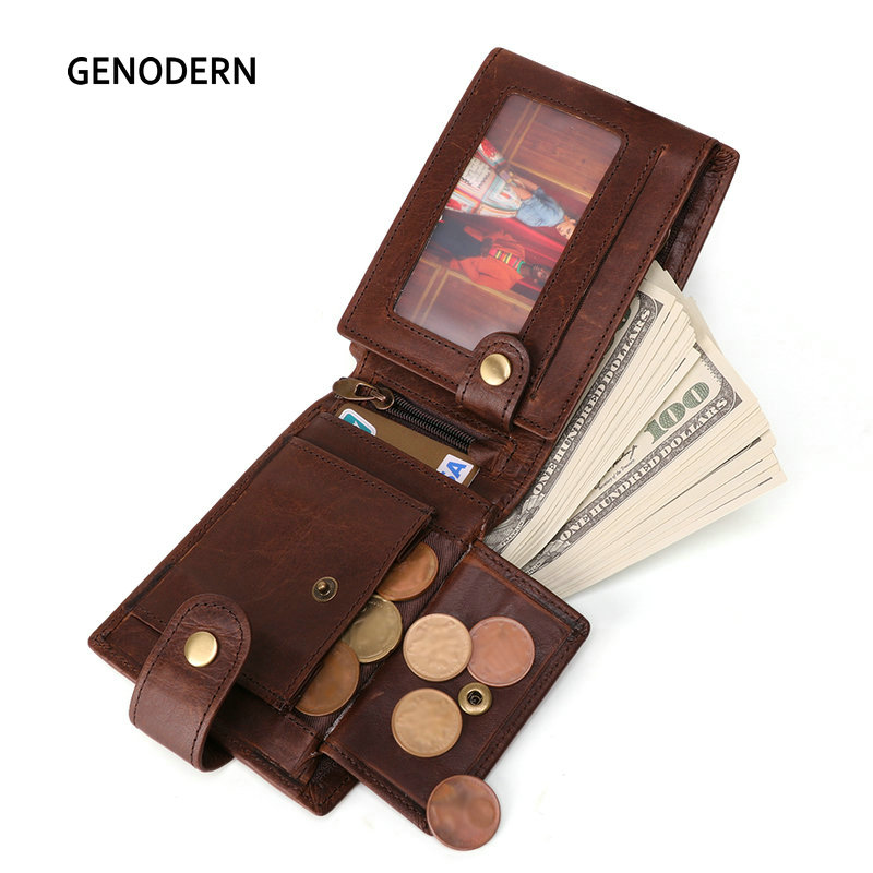 GENODERN New Arrival Vintage RFID Men Wallets Hasp Functional Trifold Wallet for Men Large Capacity Male Purse