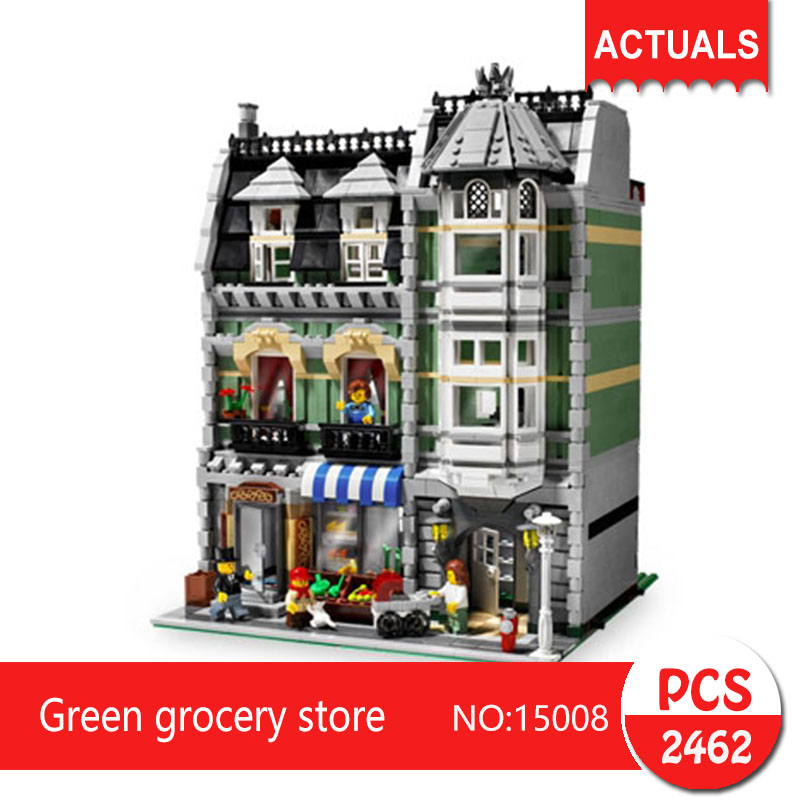 Lepin 15008 2462Pcs Street View series Green grocery store Model Building Blocks Set  Bricks Toys For Children Gift 10185 compatible lepin city mini street view building blocks chinatown satin silk store with saleman figures toys for children gift
