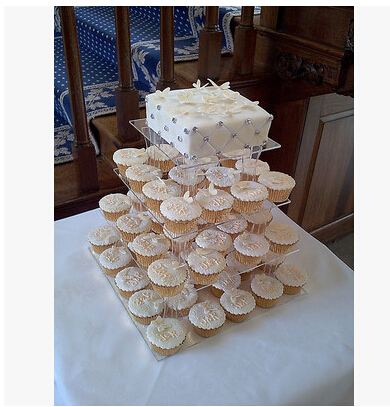 Square Clear 4 Tier Acrylic Wedding Cake Display Stand Cupcake Stand For  Wedding