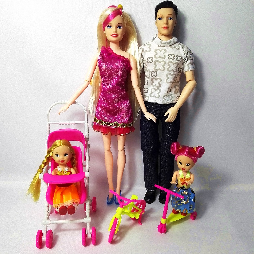 Fashion Doll Girls Toys Family 4 People Dolls Suits 1Mom/1Dad/2 Little Kelly Girl/1scooter/1 Baby Carriage for barbie Gift