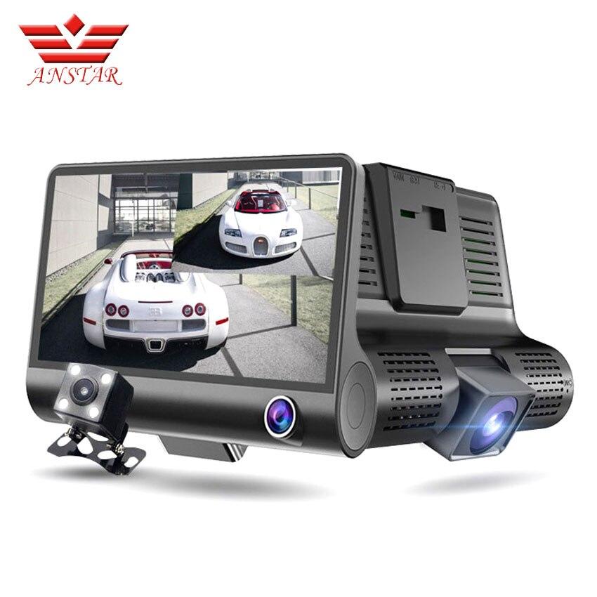 ANSTAR 4.0 Car DVR Camera Dual Lens with Rear View Registrar Three Camera Night Vision Car Dvrs Video Dashcam Camcorder