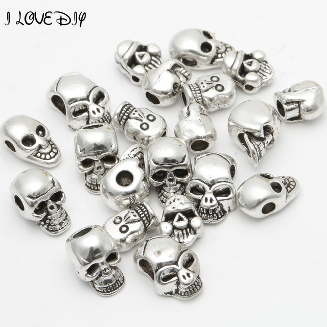 Whole Factory Price 40 Pcs Metal Silver Skull Beads Tibetan Er For Bracelet Jewelry
