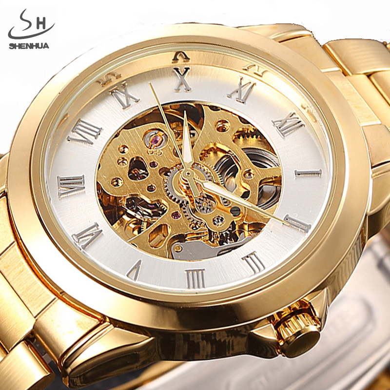 SHENHUA Luxury Brand Gold Men Skeleton Mechanical Watches Male Clock Stainless Steel Strap Fashion Casual Automatic Watch shenhua luxury brand steampunk stainless steel clock male gold skeleton wristwatch men fashion dress automatic mechanical watch