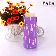 YADA Mini Five Folding Cute Seabed Fish Umbrella Rain Sun Women uv Charm For Windproof Flat Pocket YS615