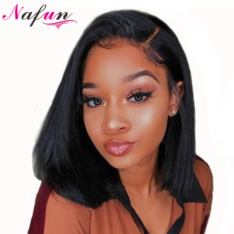 NAFUN Lace Front Human Hair Wigs Brazilian Bob Wig Remy Straight Bob Lace Front Wigs For