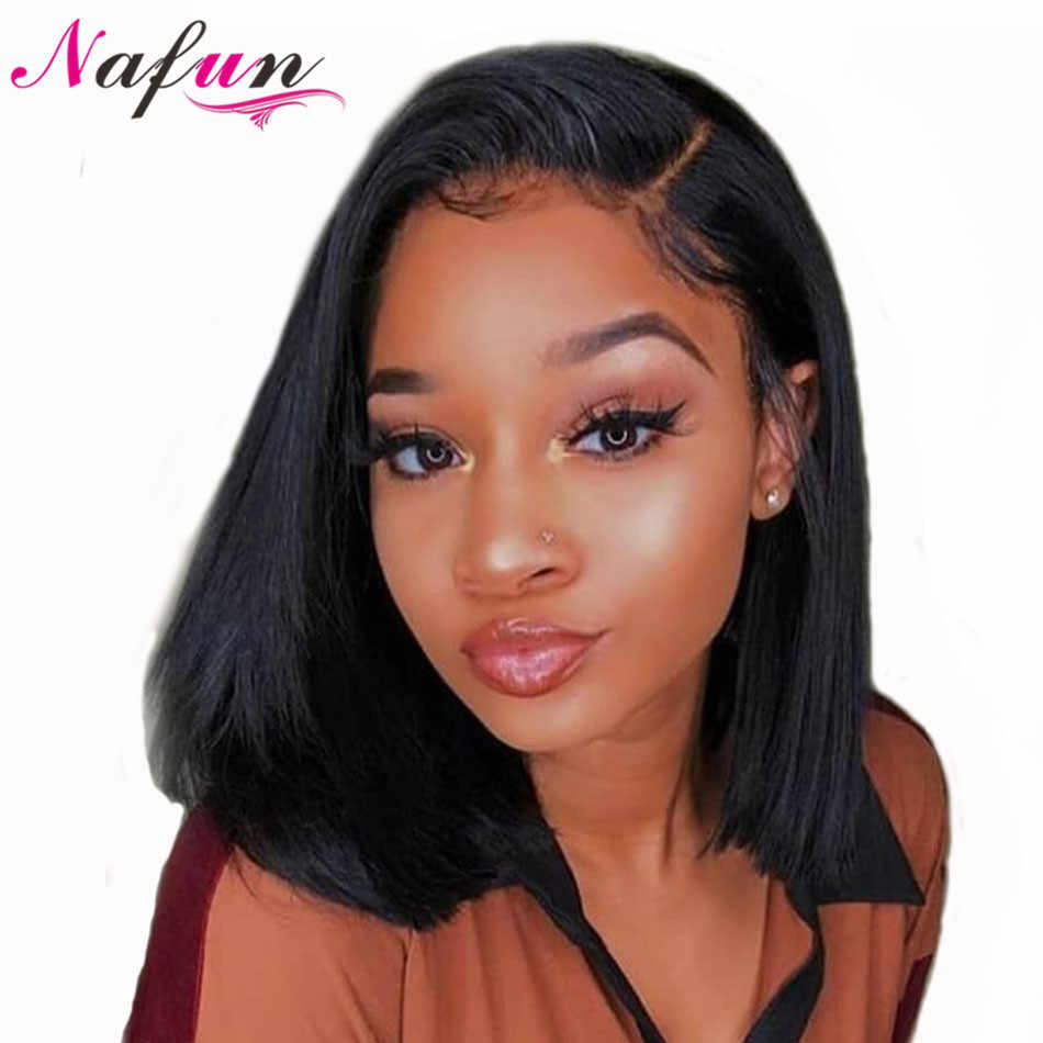 NAFUN Lace Front Human Hair Wigs Brazilian Bob Wig Remy Straight Bob Lace Front Wigs For Black Women Short Human Hair Wigs