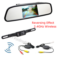 Universal 4.3 Inch TFT LCD Car Mirror Rear View Monitor with Wireless Reverse Car Rearview Backup IR Night Visoin Camera Kit