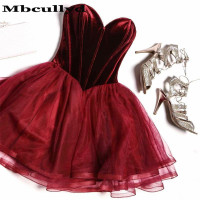 Mbcullyd 2019 Short Mini Cocktail Dresses With Ruffled Sweetheart vestidos de coctel Blue Graduation Homecoming Party Gowns
