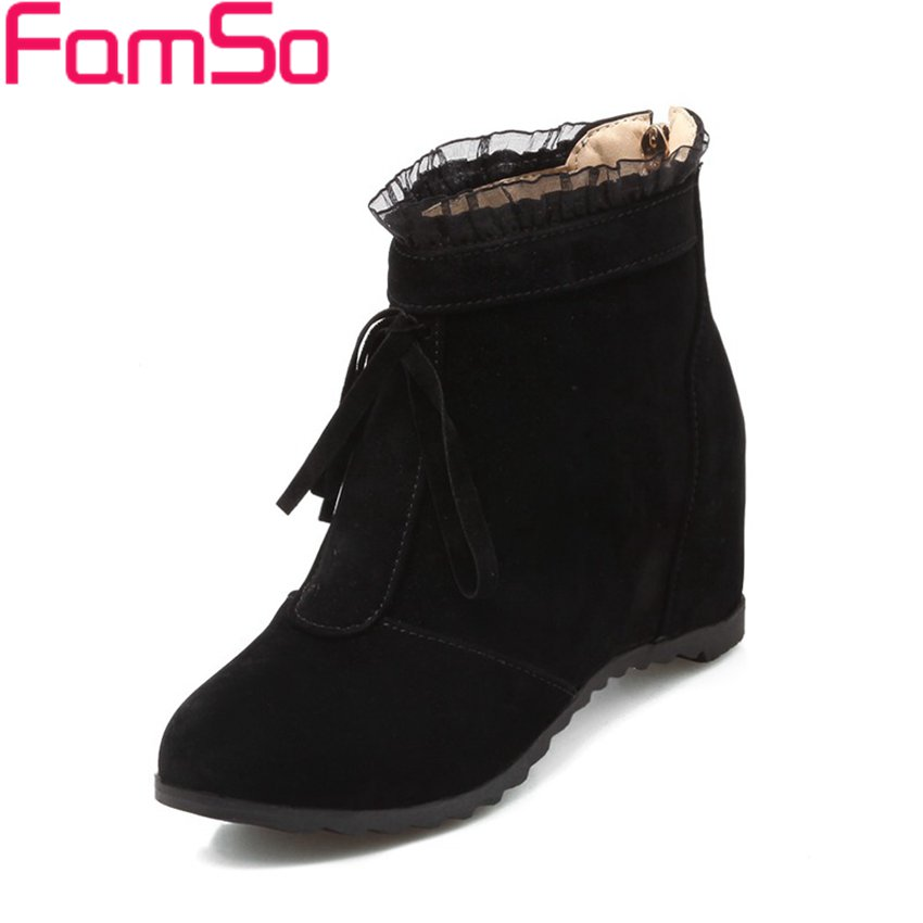Free shipping 2016 New Arrival font b Women b font Boots black Flowers Wedges Pumps High
