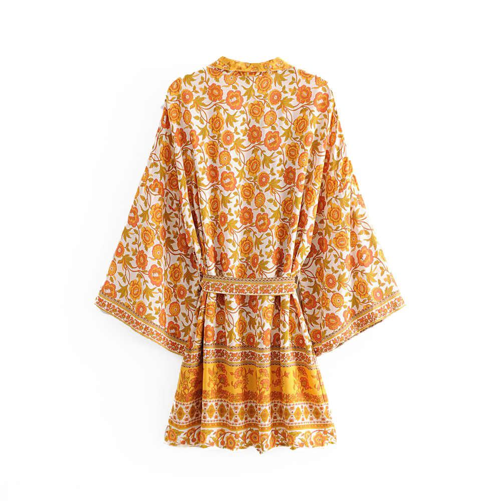 Boho шикарное летнее винтажное кимоно с цветочным принтом и поясом для женщин 2019 Модный кардиган с v-образным вырезом пляжные блузы рубашки свободного кроя Femme Blusas