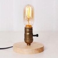 RH loft retro industriële tafellamp vintage hout Edison bureaulamp indoor licht vintage nachtkastje hout leeslamp boek licht
