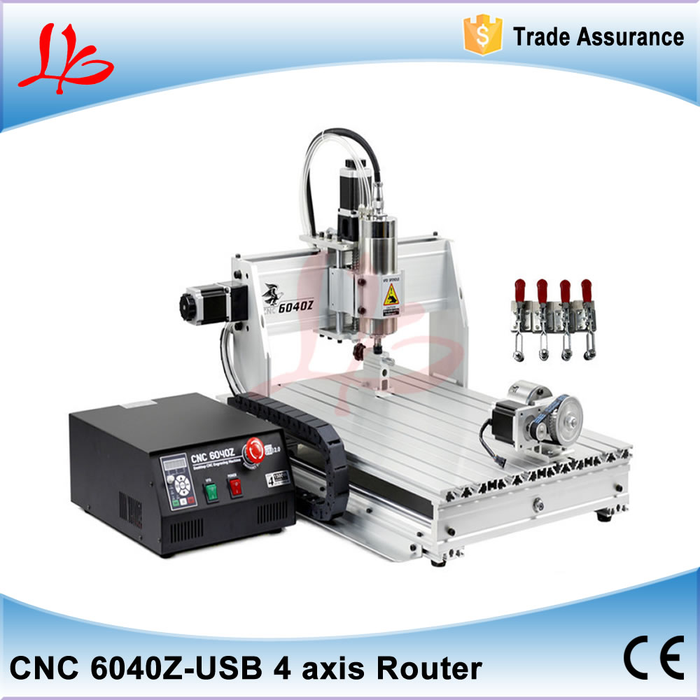free tax to EU CNC 6040 USB port rotary axis engraving machine with 1.5KW water cooled spindle,6040 CNC router Mach 3 manual cnc milling machine 4 axis cnc router 6040 with 1 5kw spindle usb port cnc 3d engraving machine for wood metal
