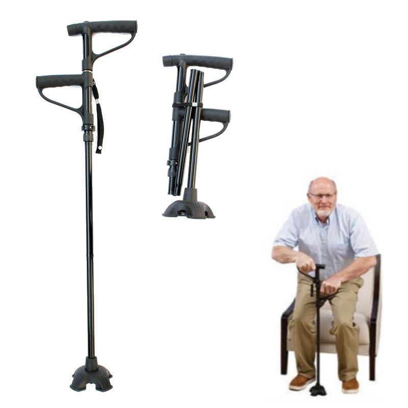NEW 2018 Outdoor Multi-function Folding Double Handle Old Man Walking Stick Aluminum Alloy Helping Hand Elderly Stick Four-leg