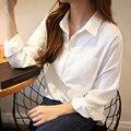 2016 Осень Рубашки Женщины Белый Отложным Длинным Рукавом Красочные Однобортный Блузки Леди Мода Свободные Топы