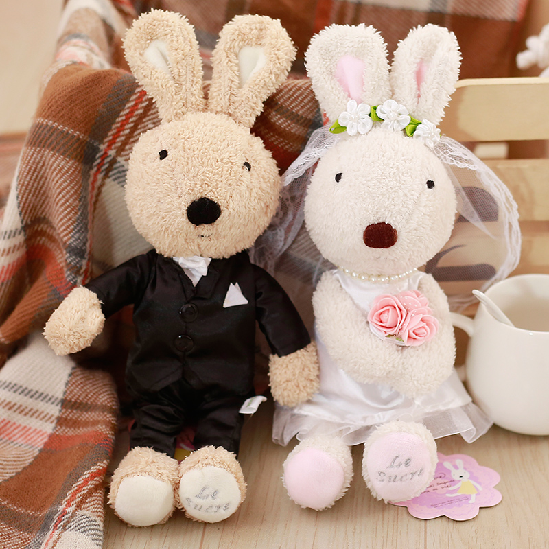 1 Pair Kawaii Wedding Bunny Rabbits Dolls Soft Couple Plush Toy Stuffed Animals Toys For Children Girls Wedding Valentine's Gift