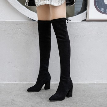 GPOKHDS 2020 women over the knee boots velvet winter short plush pointed toe lace up black color high heels high boots