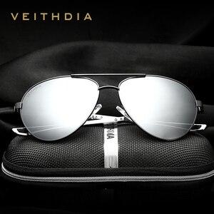 Image 2 - VEITHDIA Fashion Brand Designer Aluminum Magnesium Mens Sun Glasses Polarized Mirror lens Male Eyewear Sunglasses For Men 3801