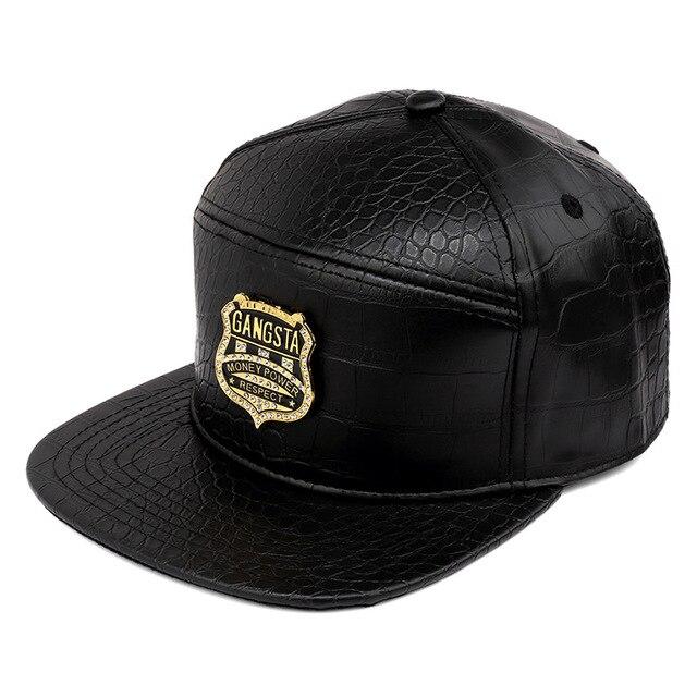 Wholesale Golden PU Leather GANGSTA Baseball caps men women gorras snapback  Rhinestone grain Crocodile hip hop eccdfa20cc56