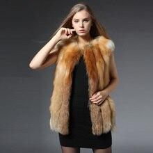 2017 Winter New Real Red Fox Fur Vest For Women Genuine Fox Fur Waistcoat Natural Fox Fur Sleeveless Outwear