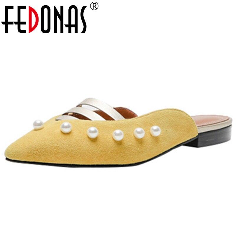 Zapatillas Nueva Cuero Negro Mujer Zapatos Las Verano amarillo Bombas Genuino Fedonas Primavera blanco Perla 1 Superficial Moda Casuales De Decoración La Mujeres BCSUn8q7w