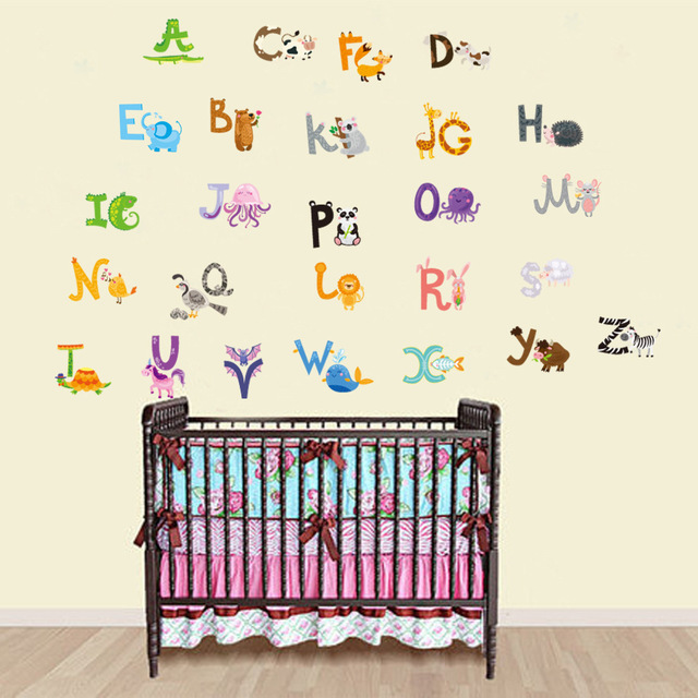 Beau 2017 Baby Gift Removable Cheap Children Bedroom Decor Alphabet Wall Stickers  For Kids Adhesive Nursery Wall
