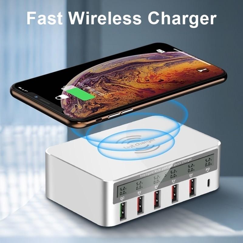 Multi USB Qi Drahtlose Ladegerät Für Iphone X XS MAX LCD Display 10 watt Quick Charge 3,0 Schnelle Wirless Lade cargador Movil